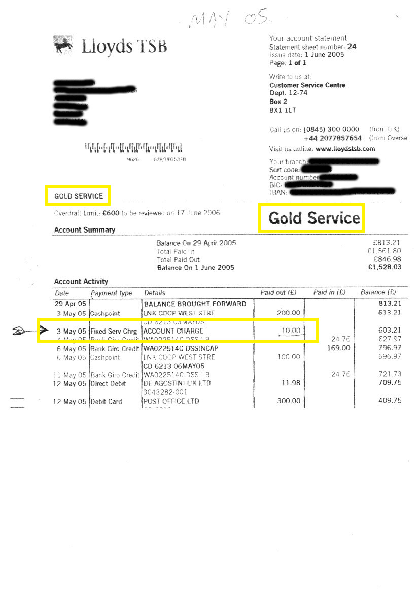 Lloyds Gold Account Statement-paper