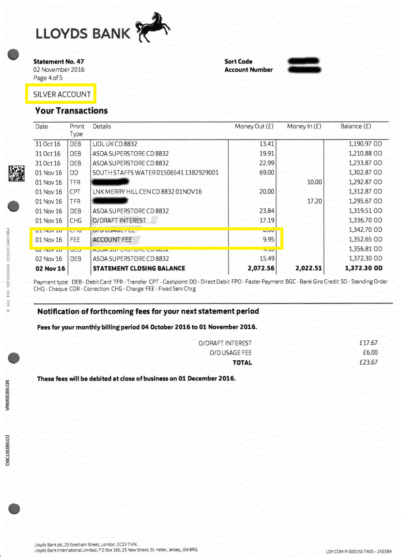 Lloyds Silver Account Statement